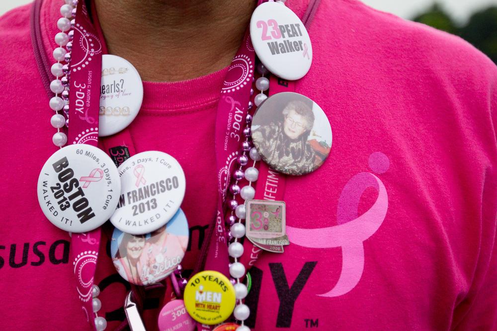 pink ribbon buttons 2013 Boston Susan G. Komen 3-Day Breast Cancer Walk