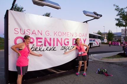 Susan G. Komen walkers gear up and take on Day 1 to find a cure for breast cancer.
