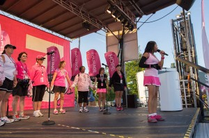 Breast cancer survivors at the Michigan 3-Day link hands in solidarity to find a cure