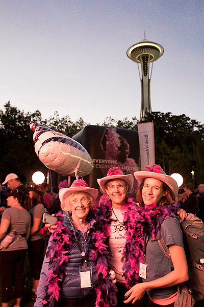 "Nancy (left) is turning 90 this weekend on her first Komen 3-Day® in Seattle this morning. Her daughter Sally (center) and granddaughter Christy (right) make up the team ""Nancy at Ninety"""