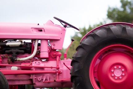 "The antique tractor ""Pinkie Pearl"" dons the pink of the breast cancer awareness cause"