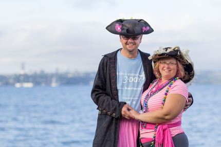 David and Wendy N support the Susan G. Komen Seattle 3-Day walkers in their pirate regalia
