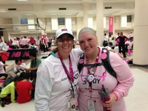 Tracy (right) and Team Tracy member, Sandra share a smile at the end of the 2013 Seattle 3-Day