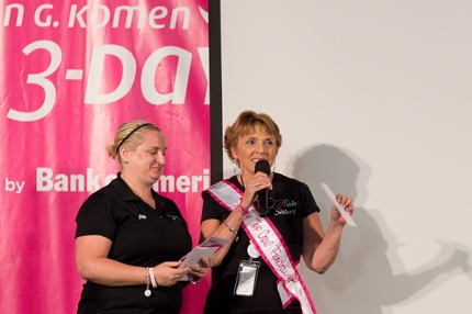Sandra Akeson receives the award for Top Crew Fundraiser