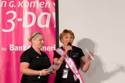 Sandra Akeson receives the award for Top Crew Fundraiser