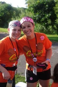 Cassie (left) and one of her Cassie's Cups teammates at the Twin Cities 3-Day.
