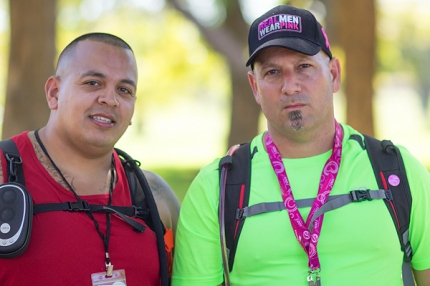 """Dubbed """"The Linebackers"""" by the author, Mark and Jason cruise through the 60-mile course on the Susan G. Komen Dallas 3-Day"""