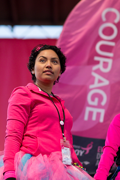 Justine looks into the crowd at Opening Ceremony on the Susan G. Komen Arizona 3-Day