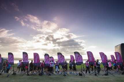 The walkers on the Komen 3-Day in San Diego line up to start the route