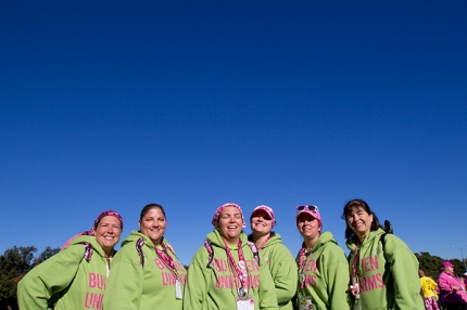 Team 'Sisterhood of the Traveling Boobs' enjoy the Texas sunshine on Day 3 of the Komen 3-Day in Dallas-Fort Worth