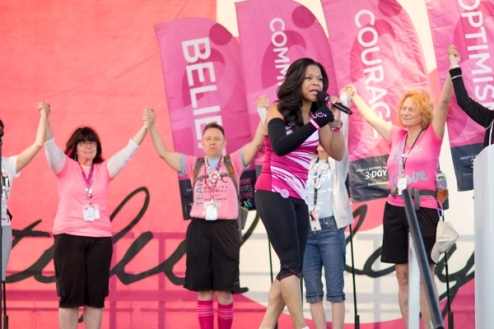 Susan G. Komen walkers gear up and take on Day 1 for breast cancer awareness.