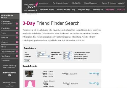 komen_3Day_participant center_friend finder