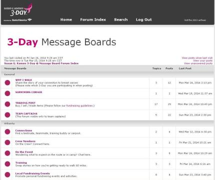Komen_3Day_participant center_message boards