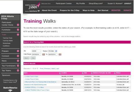 Komen_3Day_participant center_training walk calendar