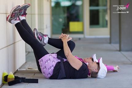 Susan G. Komen 3-Day breast cancer walk stretching