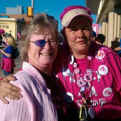 "Kim M. DFW 2010. Kim posted, ""I was surprised by [my friend] Judith at the finish line ... this three-time survivor is the inspiration for me walking every year!"""