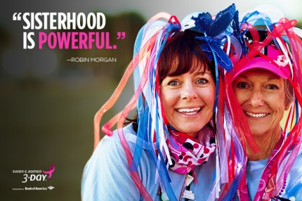 sisterhood is powerful robin morgan quote susan g komen 3 day breast cancer women walking quote