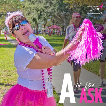 A is for ask susan g komen 3 day walk breast cancer fundraising