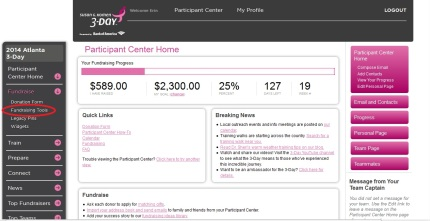 susan g. komen 3-Day breast cancer walk blog fundraising tools participant center