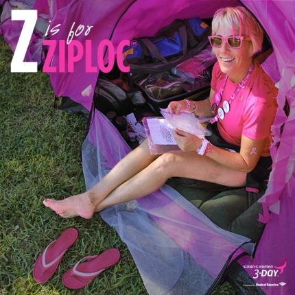 Use Ziploc bags during packing for the Susan G Komen 3 Day to keep your things dry