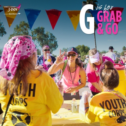 Susan G. Komen 3-Day breast cancer walk ABCs of the 3-Day Crew grab and go