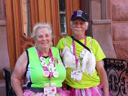 Sandy and Dennis at Mile 51 of the Philly 3-Day, celebrating 51 years of marriage. Photo courtesy of their daughter, Tammy S.