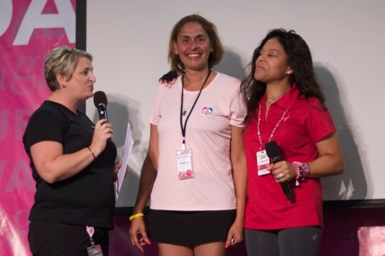 Breast Friends of Pennsylvania Team Captain Vivian Vega Schoch collects her team's prize.