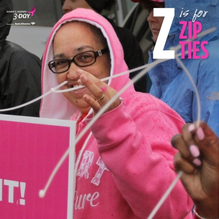 susan g. komen 3-day breast cancer walk crew volunteer zip ties