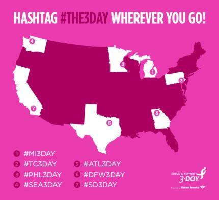 susan g. komen 3-day breast cancer 60 miles walk blog hashtags