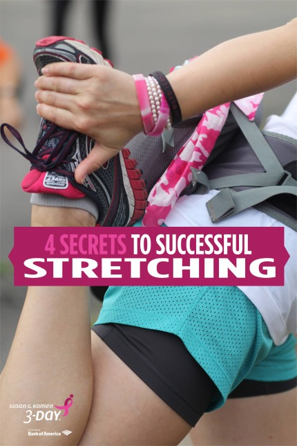 susan g komen 3-day breast cancer 60 miles walk blog secrets to successful stretching