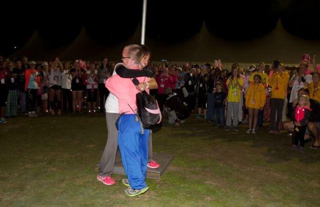 Dr. Sheri embraces a last walker on a 2014 3-Day.