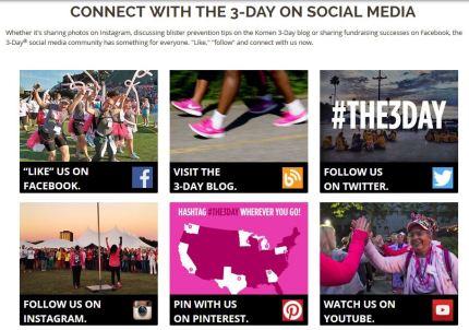 susan g. komen 3-day breast cancer walk blog 60 miles website social media connect