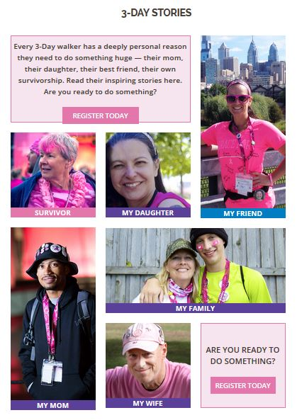 susan g. komen 3-day breast cancer walk blog 60 miles website stories