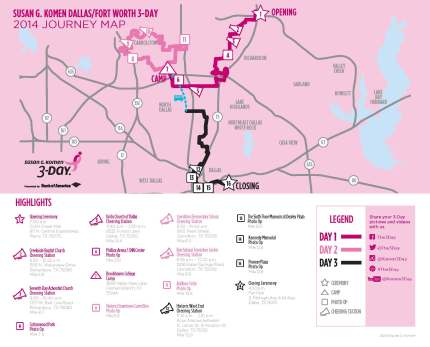 SUsan g. komen 3-Day breast cancer walk blog 60 miles map dallas fort worth