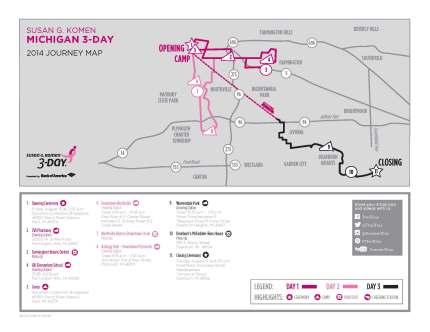 SUsan g. komen 3-Day breast cancer walk blog 60 miles map michigan