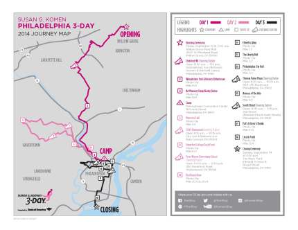 SUsan g. komen 3-Day breast cancer walk blog 60 miles map philadelphia