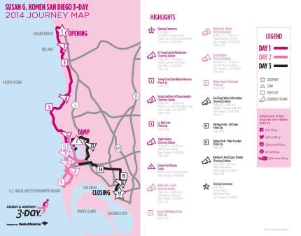 SUsan g. komen 3-Day breast cancer walk blog 60 miles map