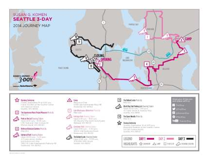 SUsan g. komen 3-Day breast cancer walk blog 60 miles map seattle