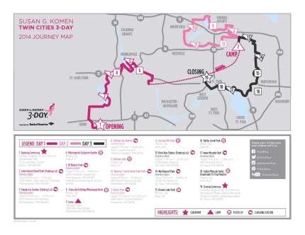 SUsan g. komen 3-Day breast cancer walk blog 60 miles map twin cities
