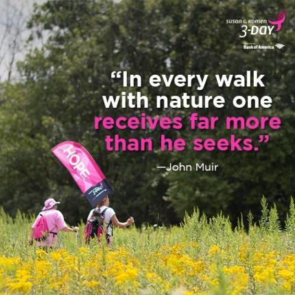 susan g. komen 3-Day breast cancer walk blog 60 miles earth day