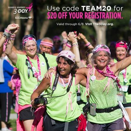 susan g. komen 3-day breast cancer walk blog team discount registration