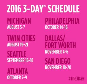 2016 Susan G. Komen 3-Day Schedule