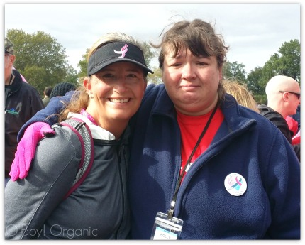 """On the 2nd day at mile 16 I was in bad shape. My foot was killing me and I needed to have it wrapped. I went to the medical tent at one of the pit stops and this beautiful nurse encouraged me to sweep but I didn't listen, because I wanted to carry on with walking. She saw me at a bad time, tears crying and exhausted. She was there for me at a time when I needed it. At the finish line I saw her again and thanked her for helping me the day before. My son noticed us speaking, hugging and crying. He asked me why I was crying, I told him how she had helped me. He then went up to her (with tears in his eyes) and said, """"Thank you for helping my mom."""""""