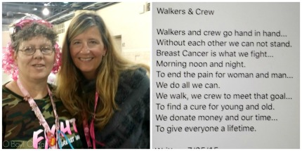 I met Alaine on the first day. Alaine was welcoming the walkers in at the end of the day. Because of physical issues she wasn't able to walk but still wanted to be a part of the 3-Day experience, because it means so much to her. Alaine shared a poem that she wrote and now I share it with you.