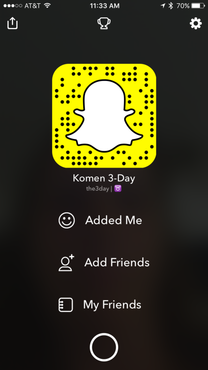 To add The 3-Day to your Snapchat friends, open Snapchat, point your camera to this image, touch in on your screen and hold!