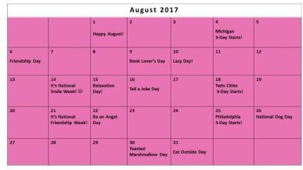 August Fundraising Calendar